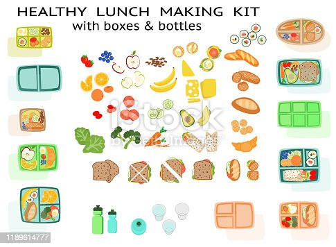 istock Lunch making Kit with healthy sandwich food fruit vegetables and boxes 1189614777