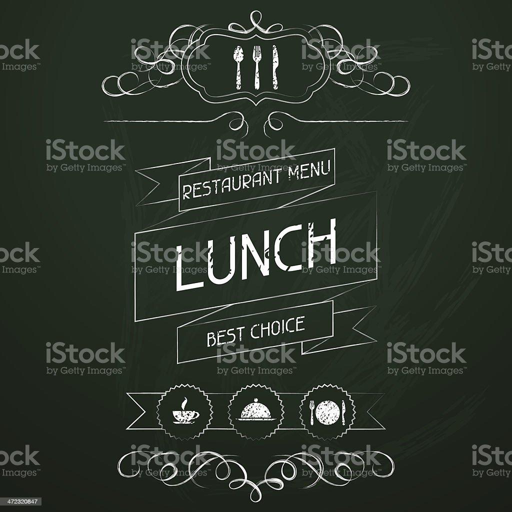 Lunch on the restaurant menu chalkboard. vector art illustration