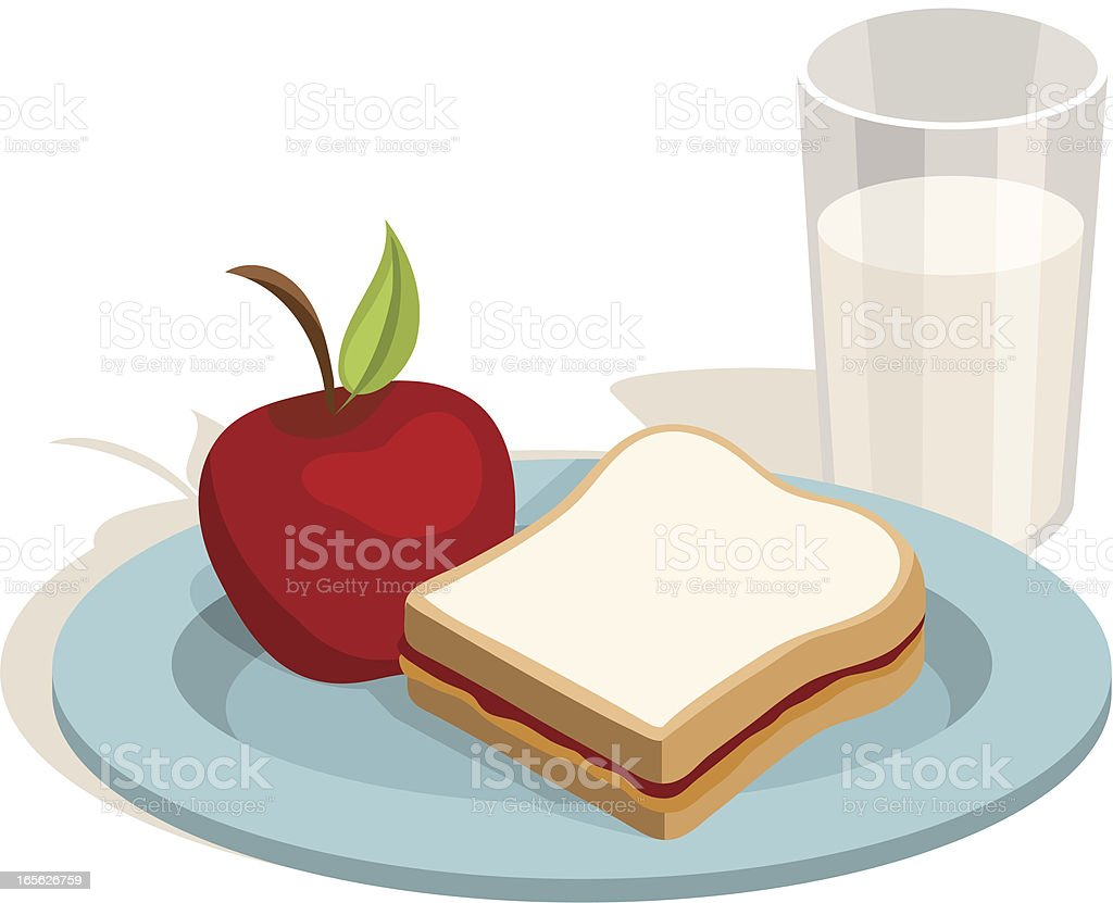Lunch: Peanut butter and Jelly Sandwich with Apple, Milk royalty-free stock vector art