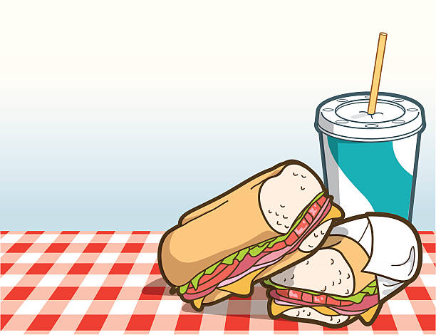 lunch sandwich - sub sandwich stock illustrations, clip art, cartoons, & icons