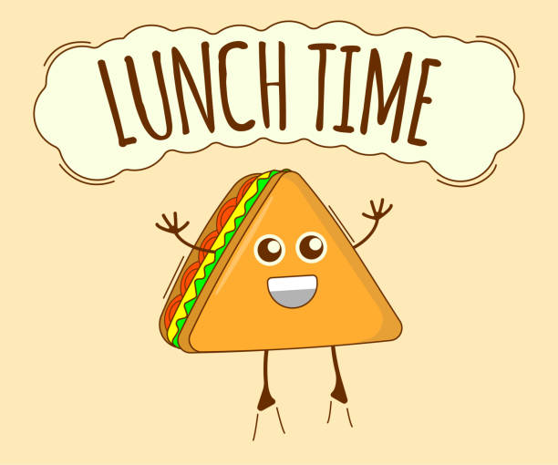 stockillustraties, clipart, cartoons en iconen met lunch tijd banner, thee pictogram. schattig karakter, concept label. cartoon vector illustratie - lunch