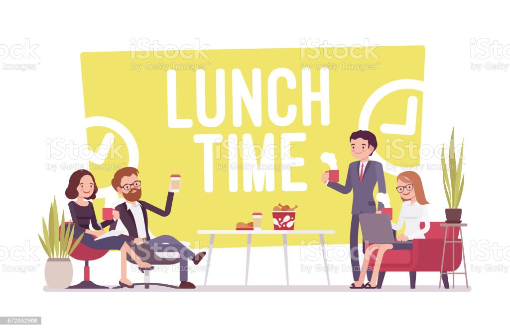 Lunch time in the office vector art illustration