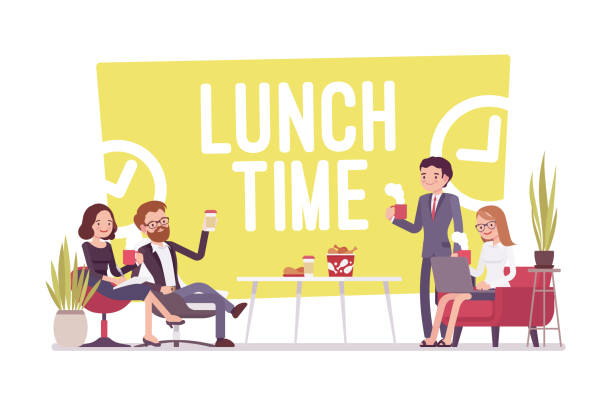 stockillustraties, clipart, cartoons en iconen met lunchtijd op kantoor - lunch