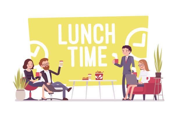 事務所で昼食タイム - 朝食点のイラスト素材/クリップアート素材/マンガ素材/アイコン素材