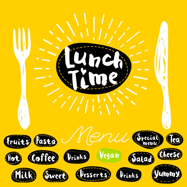 stockillustraties, clipart, cartoons en iconen met lunch tijd logo - lunch