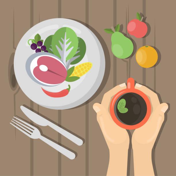 stockillustraties, clipart, cartoons en iconen met bovenaanzicht van de lunch. - tafel restaurant top