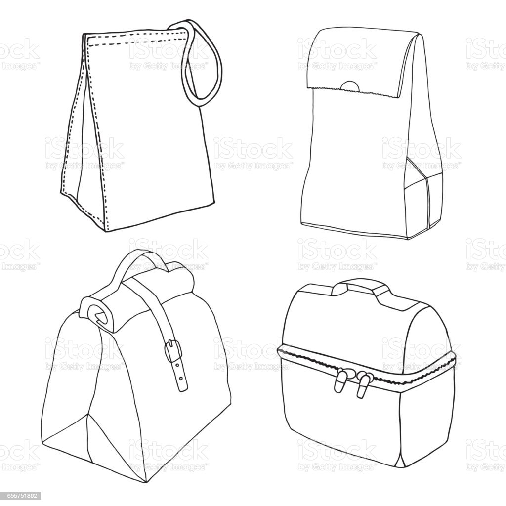 Lunchbox collection. Easy lunch bags concepts.  Various food bags and food boxes. Hand drawn vector sketch set. vector art illustration