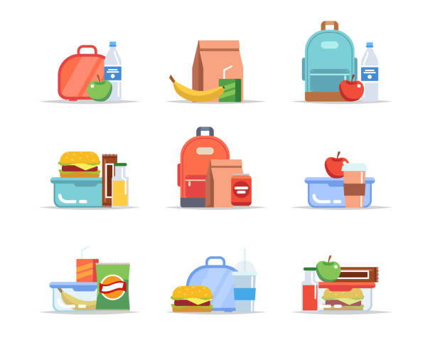 stockillustraties, clipart, cartoons en iconen met lunchbox-verschillende soorten lunches, schoolmaaltijden en snacks, kinder lunch trays met fruit, hamburgers, water, sap, soda, chocolade. vector illustratie in platte stijl - lunch
