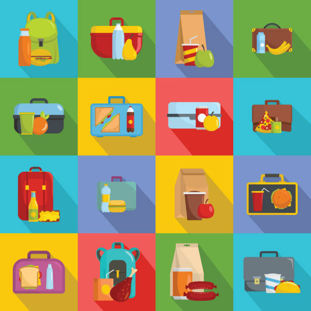 lunchbox food icons set, flat style - lunch box stock illustrations, clip art, cartoons, & icons