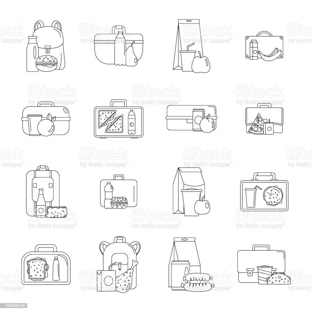 Lonchera alimentos iconos conjunto, estilo de contorno - ilustración de arte vectorial