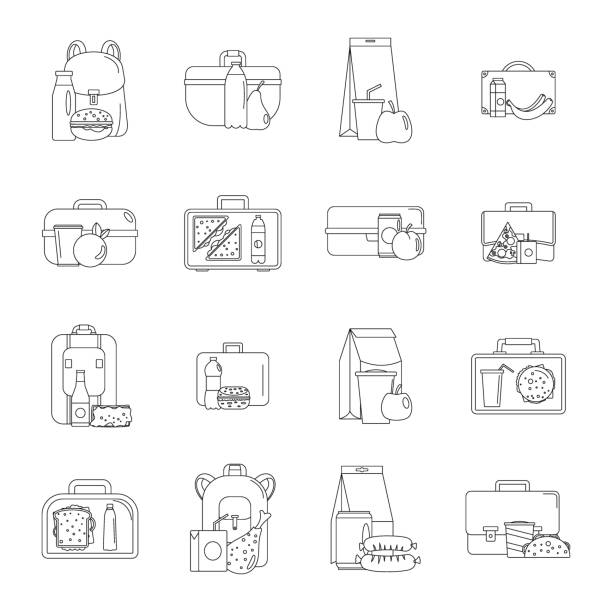 lunchbox food icons set, outline style - lunch box stock illustrations, clip art, cartoons, & icons