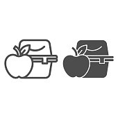Lunchbox line and solid icon. Apple with plastic container with homemade food. School vector design concept, outline style pictogram on white background.