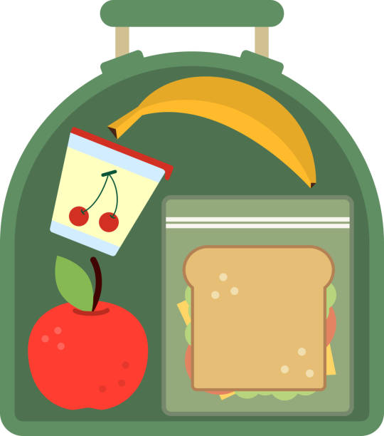 lunchbox with food. meal, apple and sandwich. healthy cartoon vector illustration - lunch box stock illustrations, clip art, cartoons, & icons
