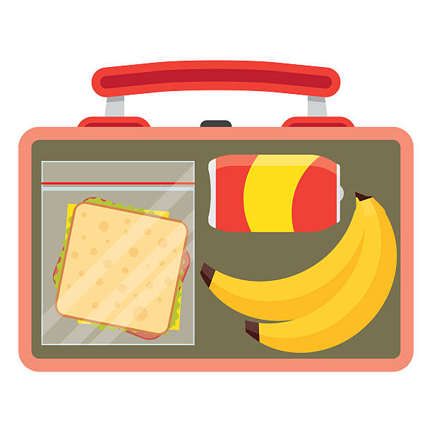 lunchbox with school lunch - lunch box stock illustrations, clip art, cartoons, & icons