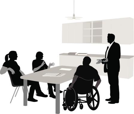 Lunchroom Meeting Vector Silhouette