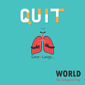 Lung cute cartoon character and Stop Smoking & Save Lungs vector design.May 31st World No Tobacco Day concept.No Smoking Day.No Tobacco Day Awareness Idea Campaign.Vector illustration.