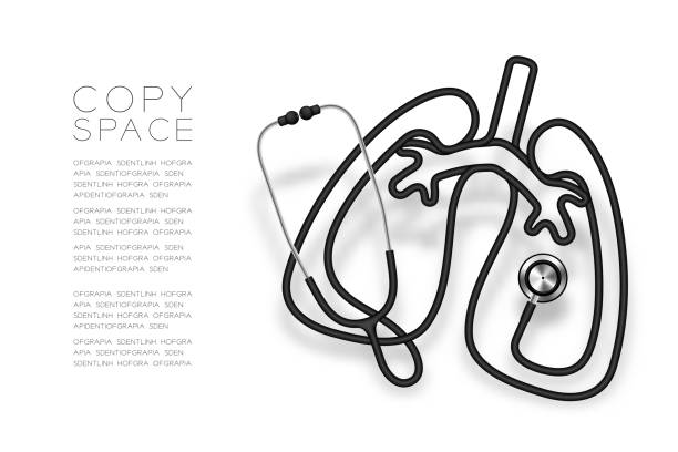 Lung shape made from Stethoscope cable black color and Medical Science Organ concept design illustration isolated on white background, with copy space vector eps 10 Lung shape made from Stethoscope cable black color and Medical Science Organ concept design illustration isolated on white background, with copy space vector eps 10 lung stock illustrations