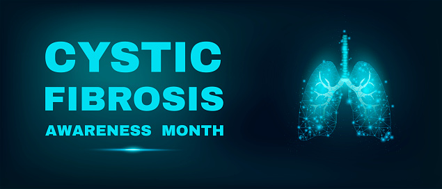 Lungs. Cystic Fibrosis awareness month. Banner template with glowing low poly. Futuristic modern abstract. Isolated on dark background. Vector illustration.