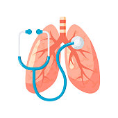 Lungs research or diagnotic concept. Vector illustration in flat style. Human lungs and stethoscope