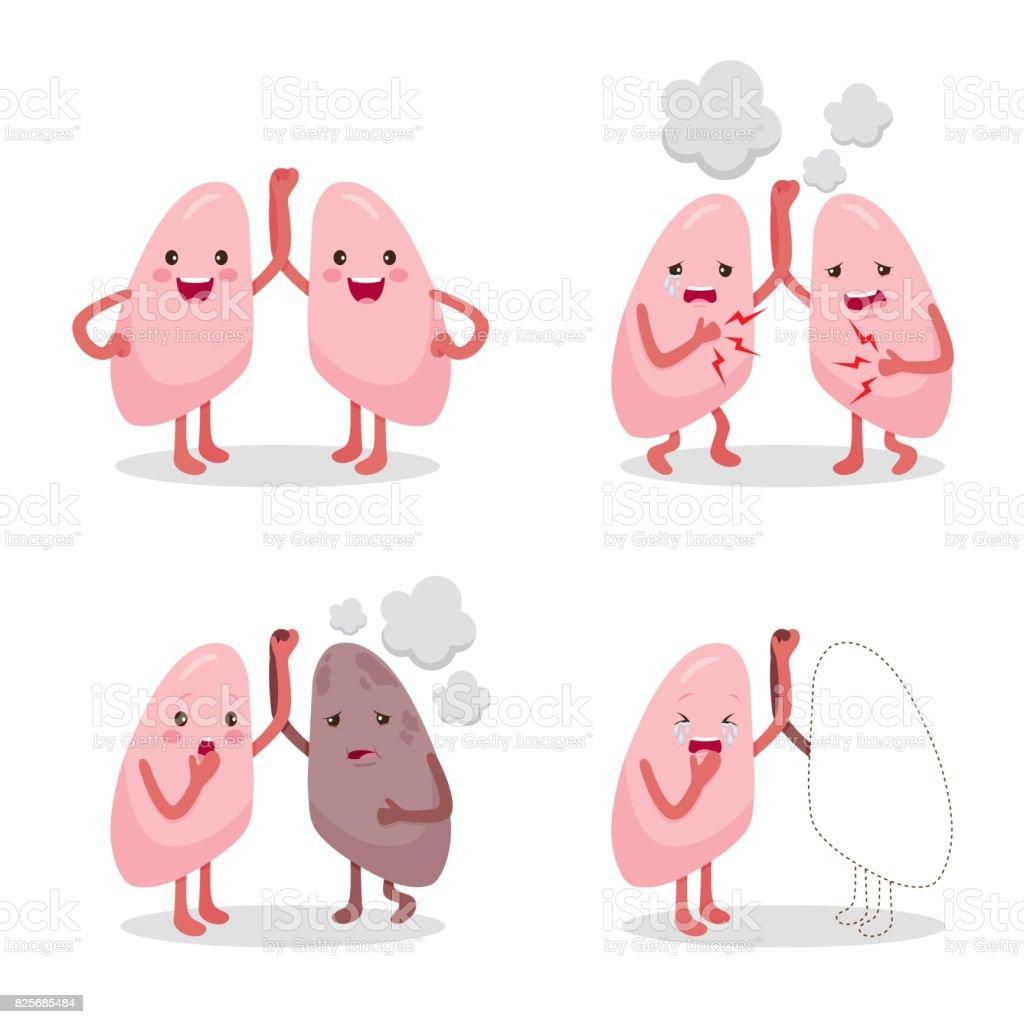 Gesunde Lungen Und Krankheit Eingestellt Zeichentrickfigur Interne ...
