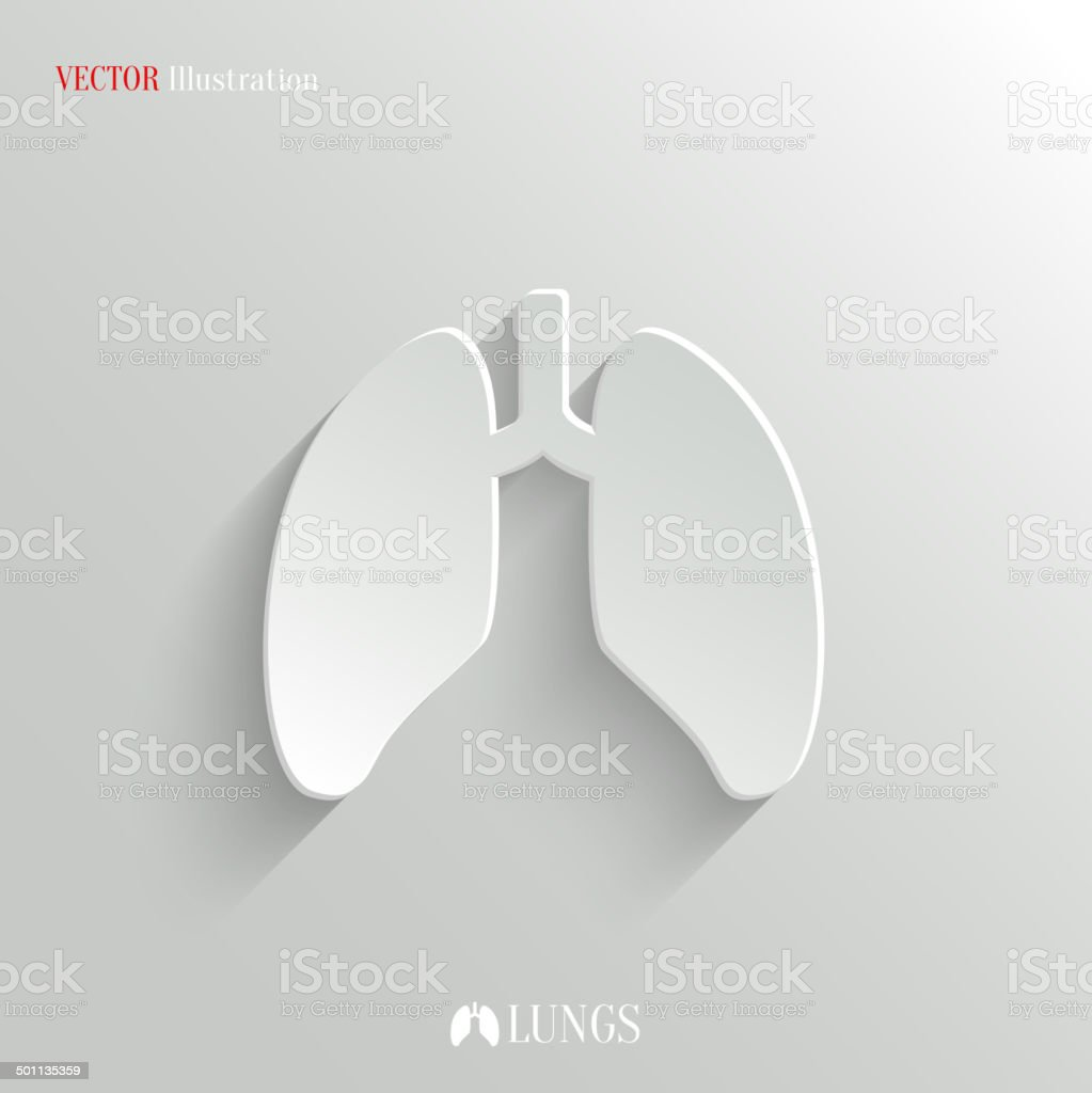 Lungs icon - vector white app button vector art illustration