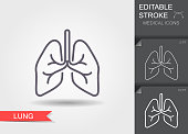 istock Lungs. Linear medical symbols with editable stroke with shadow 1215940316