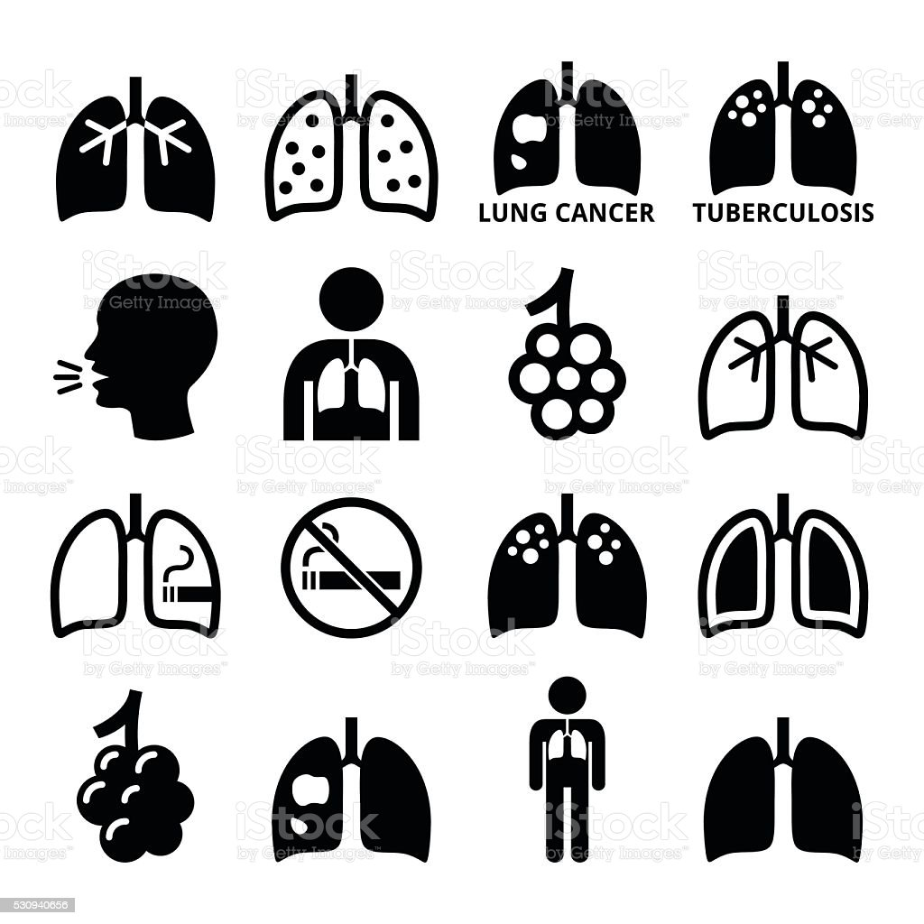 Lungs, lung disease icons set - tuberculosis, cancer vector art illustration