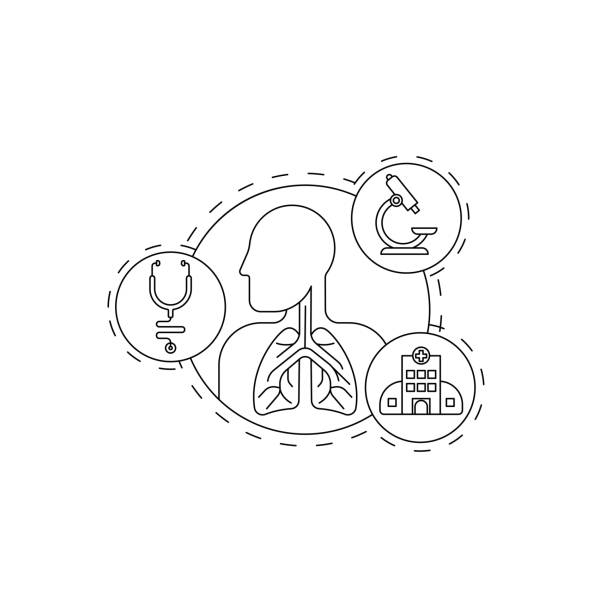 Lungs system inspection concept. Lungs system inspection concept. Pulmonology of human vector illustration for website, logo, app icon, banner. Medical research for Fibrosis, Asthma, Tuberculosis, Pneumonia, Cancer. Lung line art Vector illustrations. human body part stock illustrations