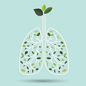 Lungs with Green leaf. vector illustration