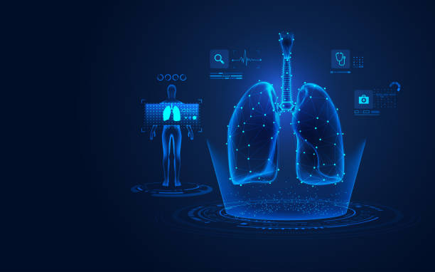 lungs X-ray concept of medical health care technology, graphic of lungs with analysis data human lung stock illustrations