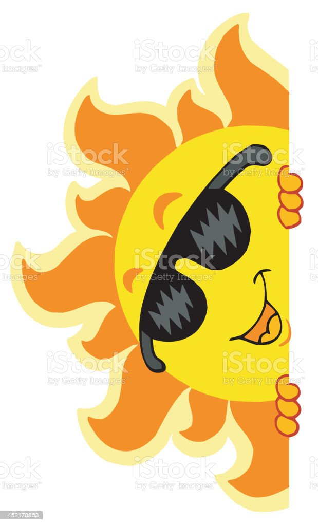 Lurking Sun with sunglasses royalty-free stock vector art