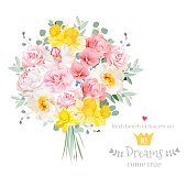 Lush bright spring flowers vector design set