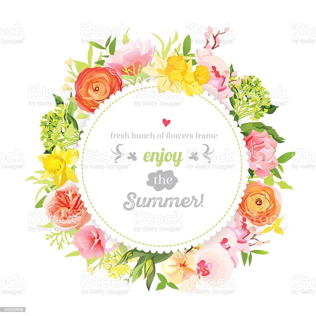 frame design flower. lush bright summer flowers vector design frame. colorful floral objects royalty-free frame flower