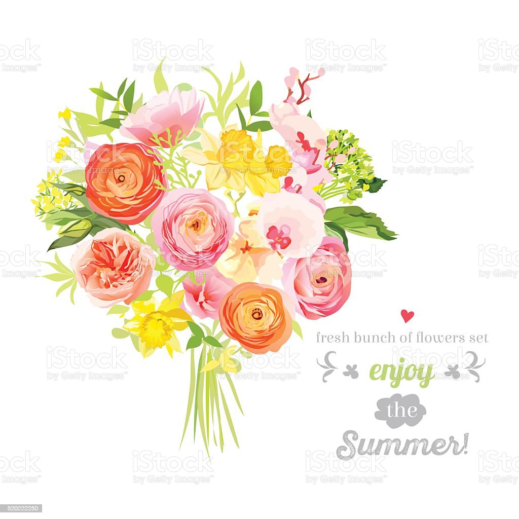 Lush bright summer flowers vector design set. Colorful floral objects vector art illustration