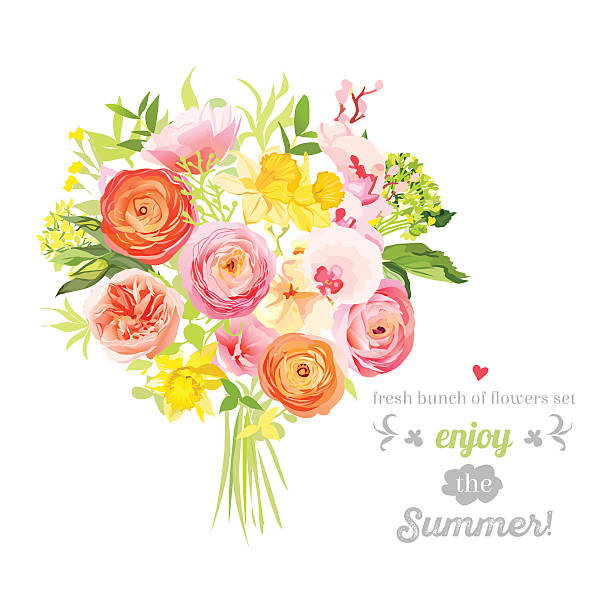 lush bright summer flowers vector design set. colorful floral objects - get well soon stock illustrations, clip art, cartoons, & icons