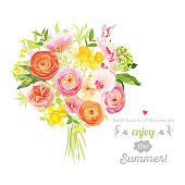 Lush bright summer flowers vector design set. Colorful floral objects
