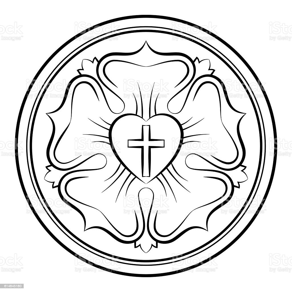 Luther Rose Monochrome Calligraphic Illustration Stock