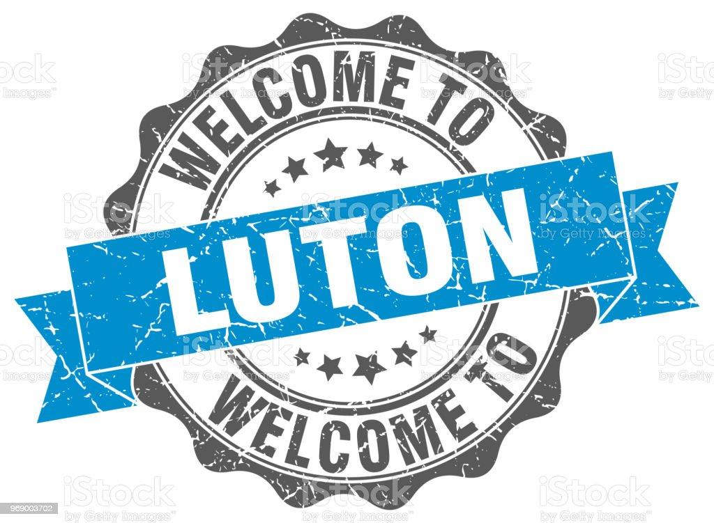 Luton round ribbon seal vector art illustration