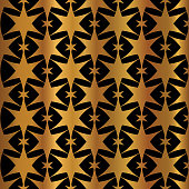 Luxe Copper Gold on Black Starry Night Sky Seamless Vector Pattern. Drawn Silhouette Stars llustration for Winter Fashion Prints, Christmas Packaging, Magical Paper Goods, Luxury Wrap or Stationery.