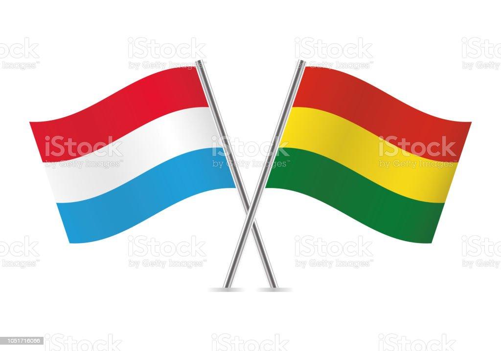 Banderas de Luxemburgo y Bolivia. Ilustración de vector. - ilustración de arte vectorial