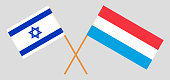 Luxembourg and Israel. The Luxembourgish and Israeli flags. Official proportion. Correct colors. Vector