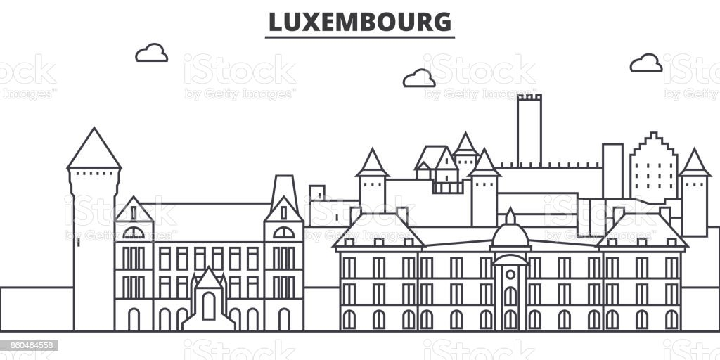 Luxembourg architecture line skyline illustration. Linear vector cityscape with famous landmarks, city sights, design icons. Landscape wtih editable strokes vector art illustration
