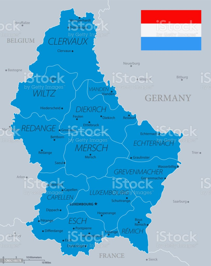 Map Of Germany Luxembourg Belgium.33 Luxembourg Blue Gray 10 Stock Vector Art More Images Of Belgium