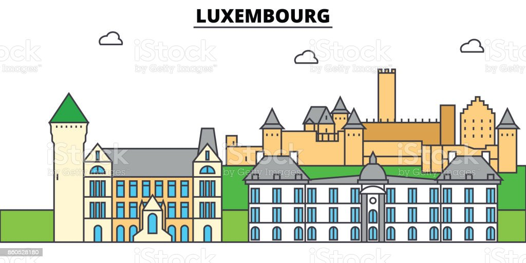 Luxembourg. City skyline, architecture, buildings, streets, silhouette, landscape, panorama, landmarks. Editable strokes. Flat design line vector illustration concept. Isolated icons set vector art illustration