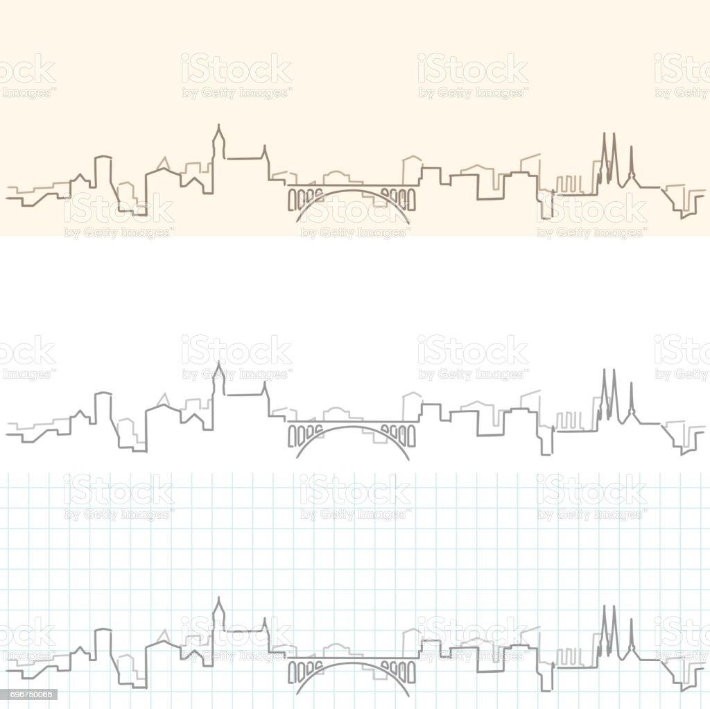 Luxembourg Hand Drawn Skyline vector art illustration
