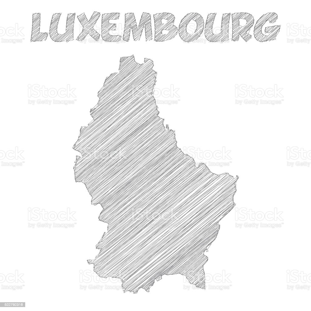 Luxembourg map hand drawn on white background vector art illustration