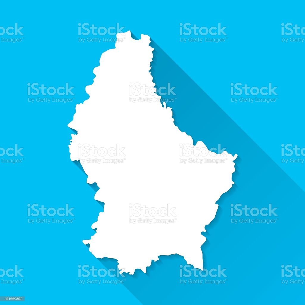 Luxembourg Map on Blue Background, Long Shadow, Flat Design vector art illustration