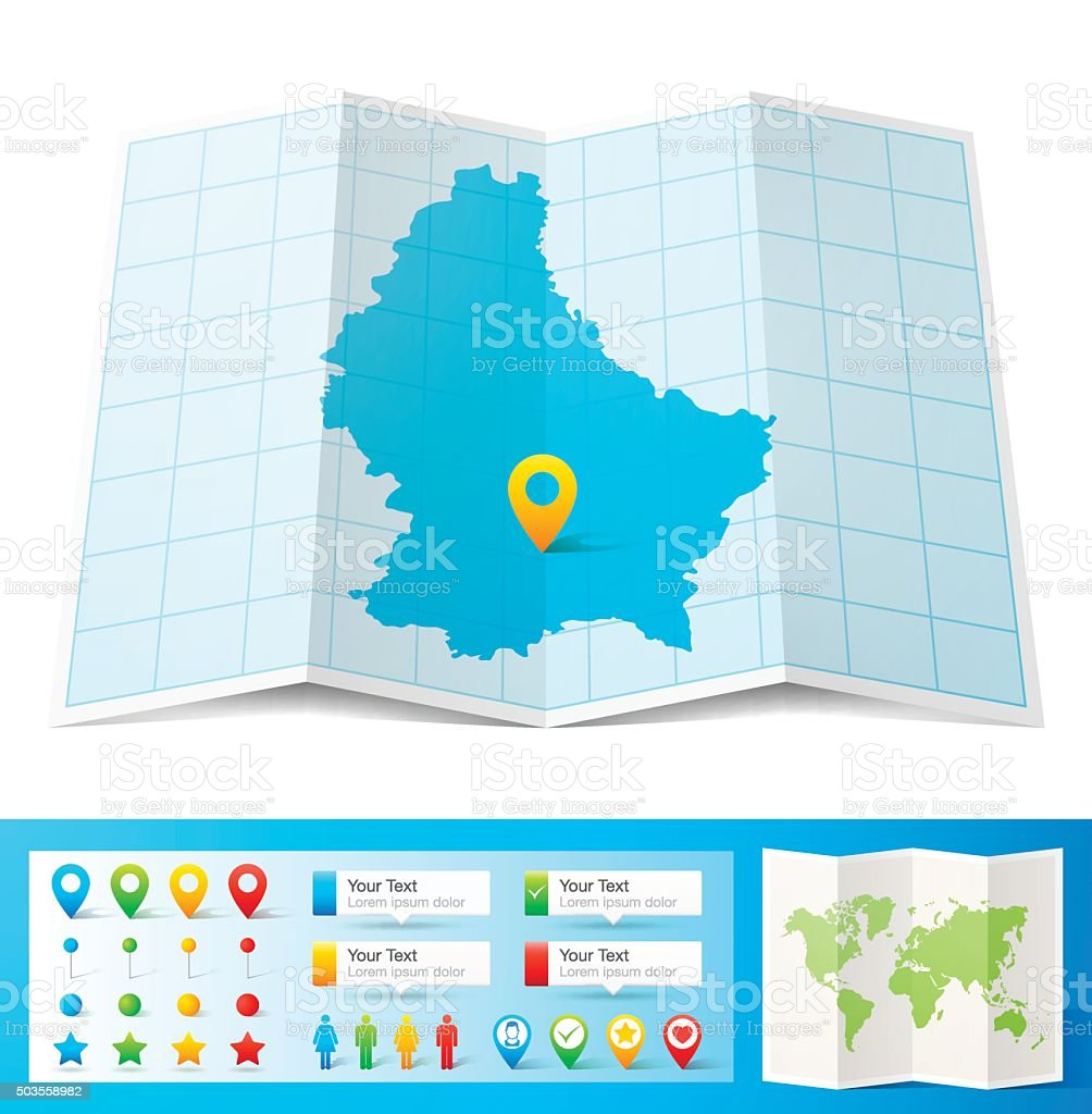 Luxembourg Map With Location Pins Isolated On White ...