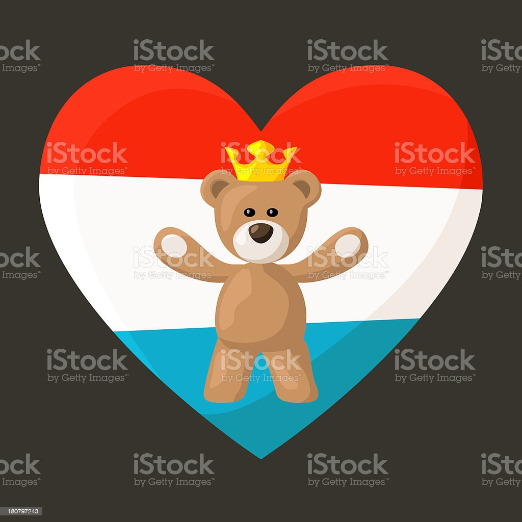Luxembourg Royal Teddy Bear royalty-free stock vector art