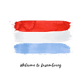 Luxembourg watercolor vector national country flag icon. Hand drawn illustration, dry brush stains, strokes, spots isolated on gray background. Painted grunge style texture for posters, banner design.